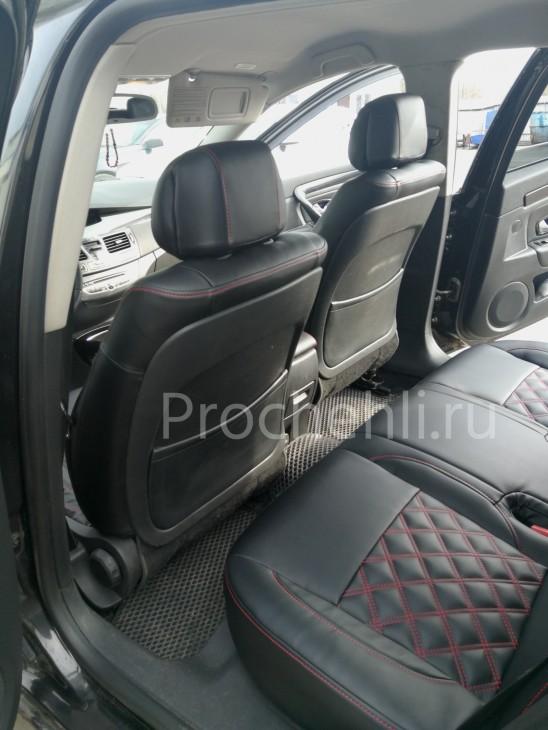Авточехлы из черной экокожи с отстрочкой двойным ромбом на  Renault Laguna 3 №5