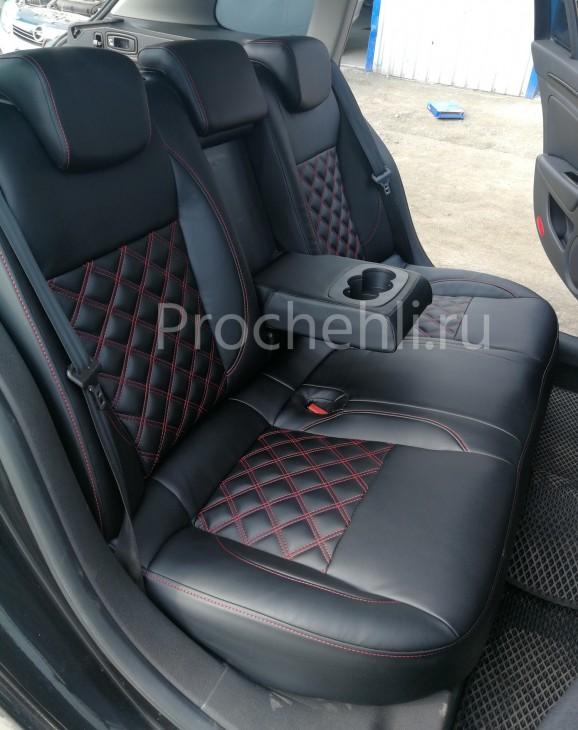 Авточехлы из черной экокожи с отстрочкой двойным ромбом на  Renault Laguna 3 №6