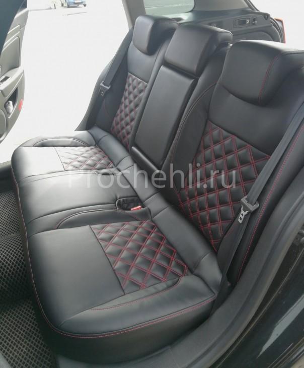 Авточехлы из черной экокожи с отстрочкой двойным ромбом на Renault Laguna 3 №7
