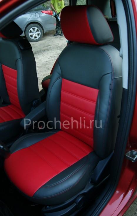 Чехлы на Ford Fusion с эффектом перетяжки салона из черной и красной экокожи №2