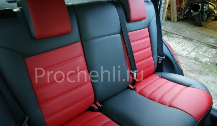 Чехлы на Ford Fusion с эффектом перетяжки салона из черной и красной экокожи №3