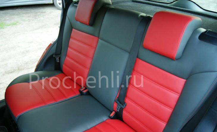 Чехлы на Ford Fusion с эффектом перетяжки салона из черной и красной экокожи №4
