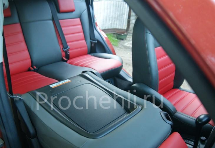 Чехлы на Ford Fusion с эффектом перетяжки салона из черной и красной экокожи №6