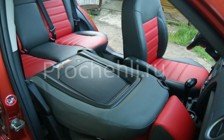 Чехлы на Ford Fusion с эффектом перетяжки салона из черной и красной экокожи №7