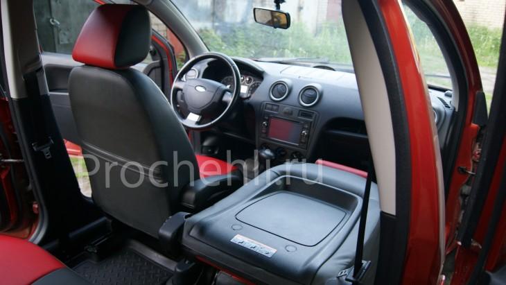 Чехлы на Ford Fusion с эффектом перетяжки салона из черной и красной экокожи №8