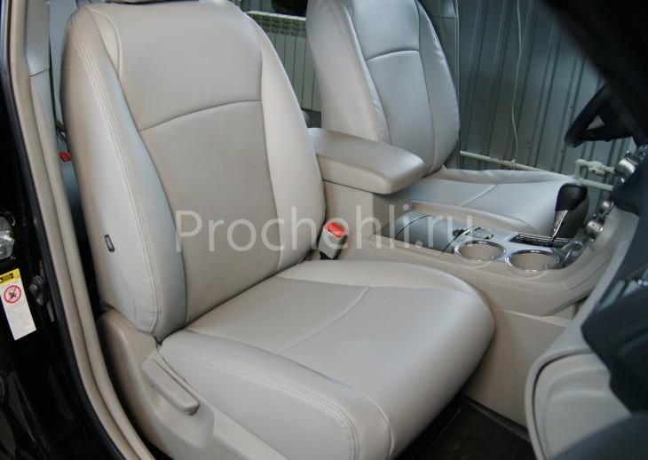 Чехлы на Toyota Highlander 2 с эффектом перетяжки из экокожи №1