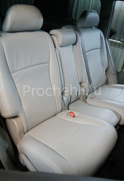 Чехлы на Toyota Highlander 2 с эффектом перетяжки из экокожи №3
