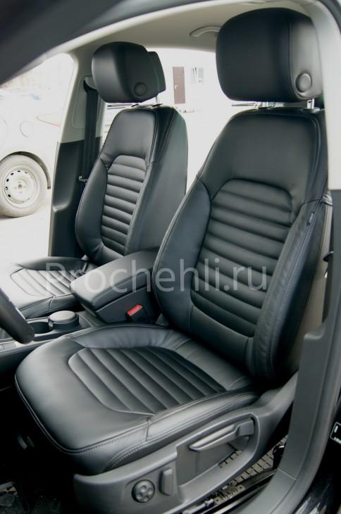 Чехлы нa VW Passat B7 с эффектом перетяжки сидений из черной экокожи №2