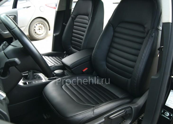 Чехлы нa VW Passat B7 с эффектом перетяжки сидений из черной экокожи №1