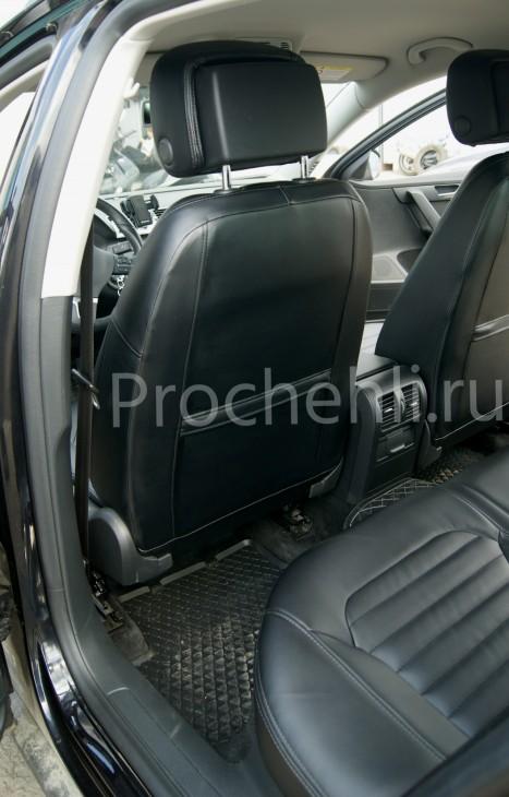 Чехлы нa VW Passat B7 с эффектом перетяжки сидений из черной экокожи №4